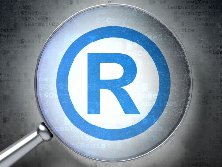 r regulation: Magnifying optical glass with Registered icon on digital background, 3d render