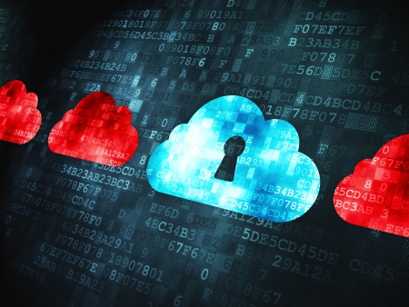 Cloud computing concept  pixelated Cloud Whis Keyhole icon on digital background, 3d render Stock Photo - 18428534