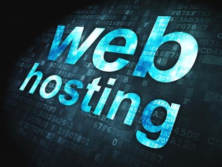 SEO web development concept  pixelated words Web Hosting on digital background, 3d render Stock Photo - 18428521