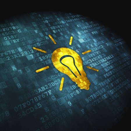 leadership management: Finance concept  pixelated Light Bulb icon on digital background, 3d render