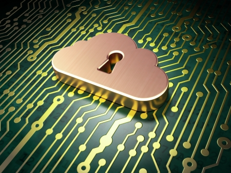 security symbol: Networking concept  circuit board with Cloud Whis Keyhole icon, 3d render Stock Photo