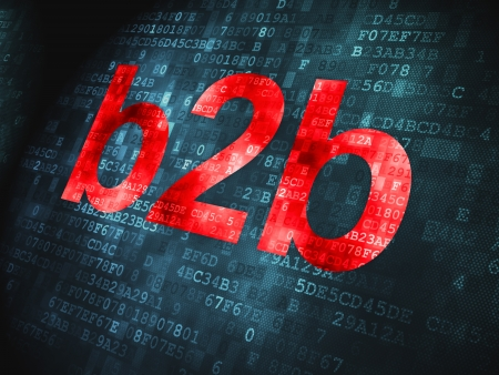 b2b: Palabras Finanzas concepto pixelados B2b en fondo digital, 3d render