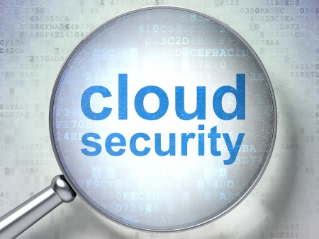 Magnifying optical glass with words Cloud Security on digital background, 3d render Stock Photo - 18456944