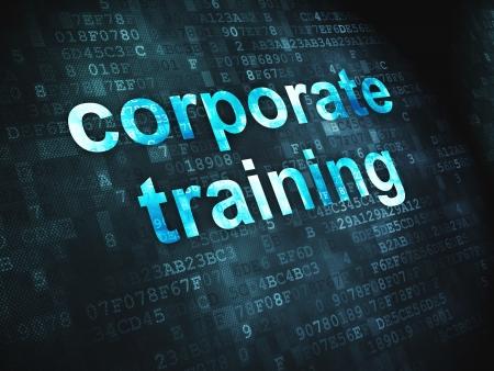 curso de capacitacion: Concepto de educaci�n pixelada Capacitaci�n Corporativa palabras en fondo digital, 3d render
