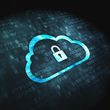 mobile security: Networking concept  pixelated Cloud Whis Padlock icon on digital background, 3d render