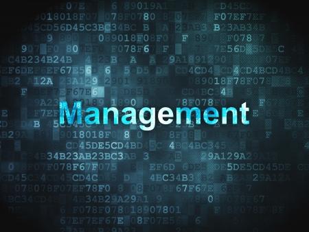 busines: Business concept  pixelated words Management on digital background, 3d render