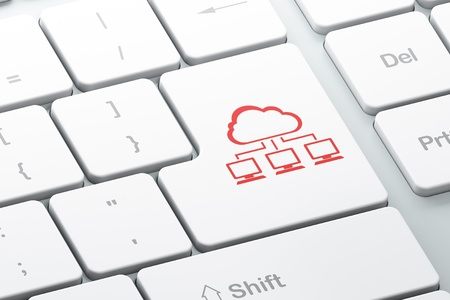Cloud technology concept  Enter button with Cloud Network on computer keyboard, 3d render Stock Photo - 18457009