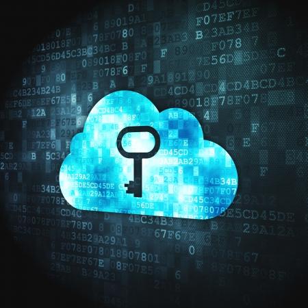 Concepto de computación en nube pixelada nube icono Whis clave sobre fondo digital, 3D, render