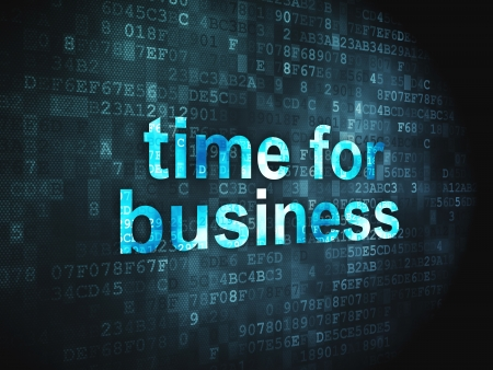 Timeline concept  pixelated words Time for Business on digital background, 3d render photo