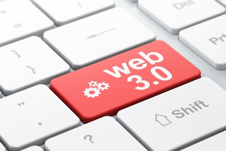 Web development concept  computer keyboard with Gears icon and word Web 3 0, selected focus on enter button, 3d render Stock Photo - 18552197