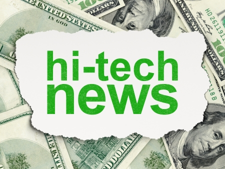 News concept  torn paper with words Hi-tech News on Money background, 3d render photo