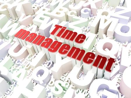 Timeline concept  Time Management on alphabet  background, 3d render