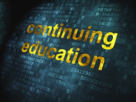 Education concept  pixelated words Continuing Education on digital background, 3d render Stock Photo - 18552306