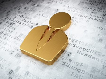 News concept  Golden Business Man on digital background, 3d render photo