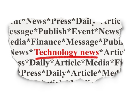News concept  torn newspaper with words Technology News on  background, 3d render Stock Photo - 18552288