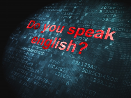 Education concept  pixelated words Do you speak English  on digital background, 3d render photo