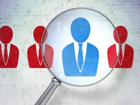 Lupa óptica con iconos Hombre de negocios en fondo digital, 3d render