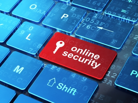 Safety concept  computer keyboard with Key icon and word Online Security on enter button background, 3d render Stock Photo - 18552262
