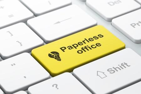Negocio Concepto de negocio de teclado de ordenador con el icono de la bombilla y la palabra Paperless Office, enfoque seleccionada en la tecla Enter, render 3d