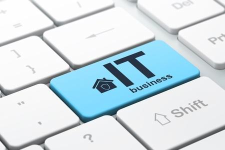 Concepto de Finanzas de teclado de ordenador con el icono de Inicio y la palabra IT Business, el enfoque seleccionado en la tecla Enter, 3d