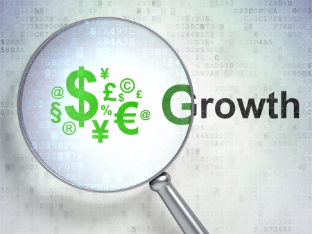 Magnifying optical glass with Finance Symbol icon and Growth word on digital background, 3d render photo