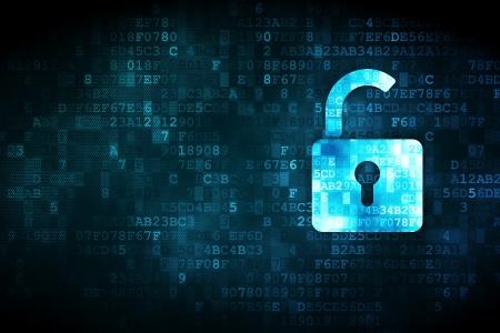 개인 정보 보호: 디지털 배경에 개인 정보 보호의 개념 픽셀 화 열린 자물쇠 아이콘, 카드, 텍스트, 광고에 대한 빈 copyspace
