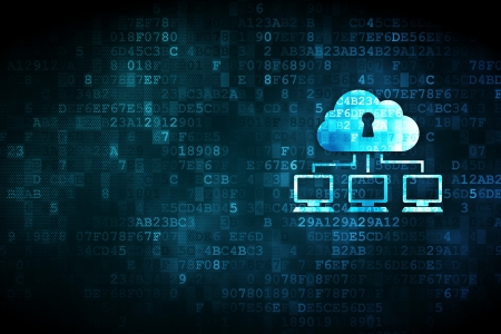 Concetto di rete sgranata icona Network Nube su sfondo digitale, copyspace vuoto per la carta, il testo, la pubblicità