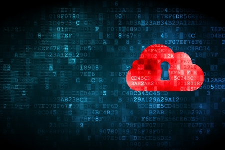 Cloud computing concept  pixelated Cloud Whis Keyhole icon on digital background, empty copyspace for card, text, advertising Stock Photo - 18629586