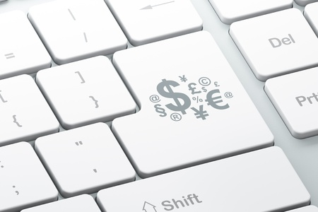 Marketing concept  Enter button with Finance Symbol on computer keyboard background, 3d render photo