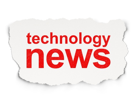 News concept  torn paper with words Technology News on Paper background, 3d render Stock Photo - 18765819