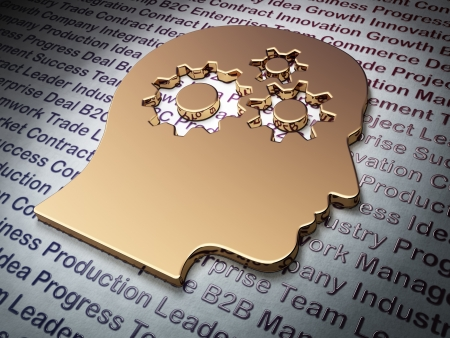 Finance concept  Golden Head With Gears on Business background, 3d render photo