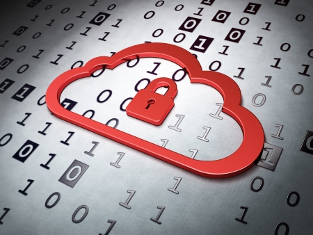 Cloud computing concept   Cloud Whis Padlock on Binary Code background, 3d render photo