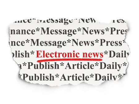 News concept  torn newspaper with words Electronic News on Paper background, 3d render Stock Photo - 18765902