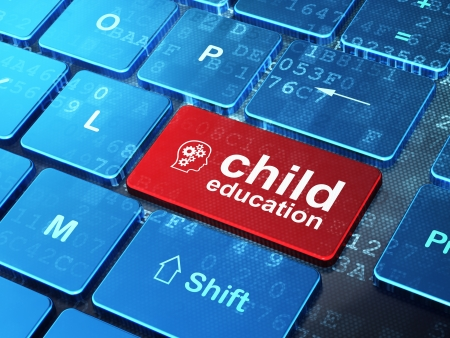Education concept  computer keyboard with Head With Gears icon and word Child Education on enter button background, 3d render photo