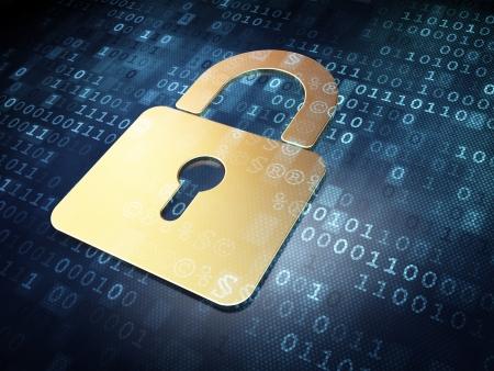 Oro Seguridad concepto candado cerrado en fondo digital, 3d render