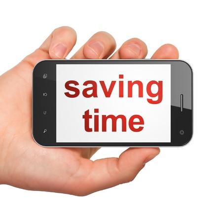 cronologia: Mano sosteniendo concepto Timeline smartphone con Time palabra de salvación en la pantalla Genérico teléfono inteligente móvil en la mano sobre fondo blanco