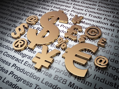 Finance concept  Golden Finance Symbol on Business background, 3d render photo