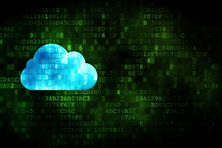 Cloud computing concept  pixelated Cloud icon on digital background, empty copyspace for card, text, advertising, 3d render Stock Photo - 18765941