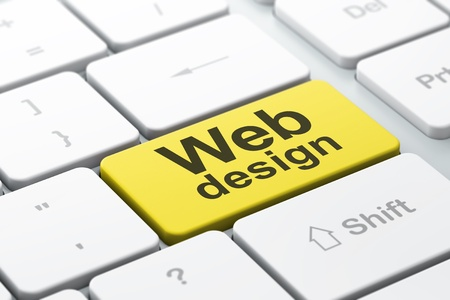 SEO web development concept  computer keyboard with word Web Design, selected focus on enter button background, 3d render Stock Photo - 18765859