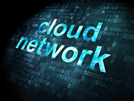 Cloud computing concept  pixelated words Cloud Network on digital background, 3d render Stock Photo - 18765949