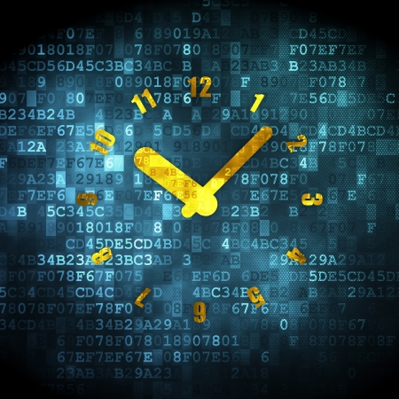 Timeline concept  pixelated Clock icon on digital background, 3d render photo