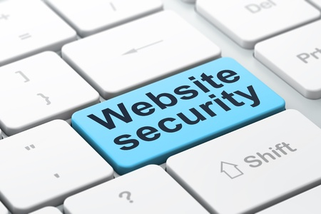 SEO web development concept  computer keyboard with word Website Security, selected focus on enter button background, 3d render Stock Photo - 18765866
