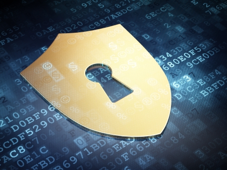 Protection concept  Gold Shield With Keyhole on digital background, 3d render Stock Photo - 18765906