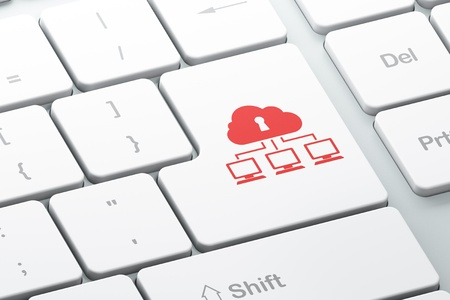 Networking concept  Enter button with Cloud Network on computer keyboard background, 3d render Stock Photo - 18765992