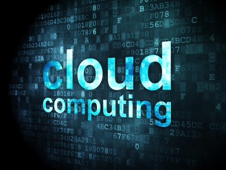 Cloud computing concept  pixelated words Cloud Computing on digital background, 3d render photo