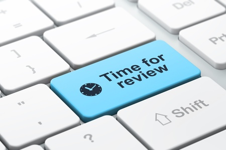 evaluating: Timeline concept  computer keyboard with Clock icon and word Time for Review, selected focus on enter button, 3d render Stock Photo