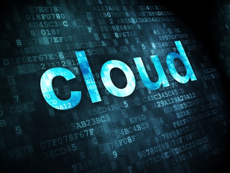 Cloud computing concept  pixelated words Cloud on digital background, 3d render Stock Photo - 18766016