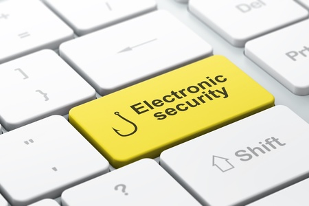 Protection concept  computer keyboard with Fishing Hook icon and word Electronic Security, selected focus on enter button, 3d render Stock Photo - 19115080
