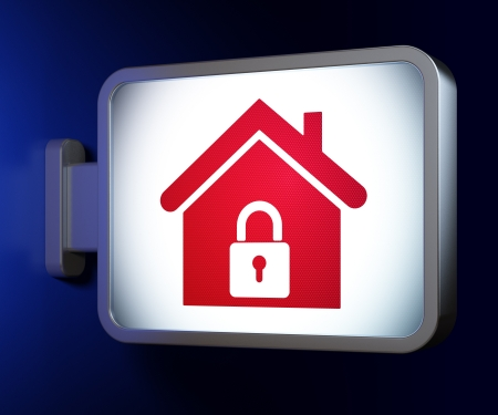 Protection concept  Home on advertising billboard background, 3d render photo
