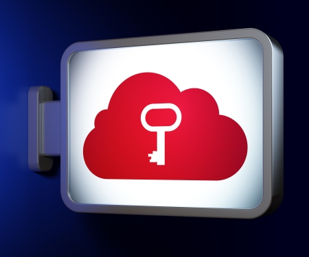 Networking concept  Cloud Whis Key on advertising billboard background, 3d render photo